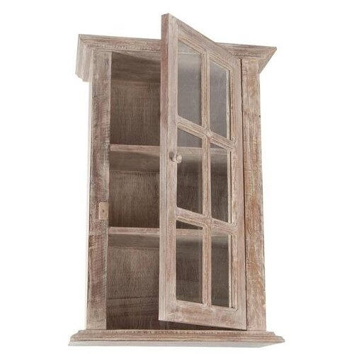 Wall Cabinet With Glass Front In Natural Limed Finish