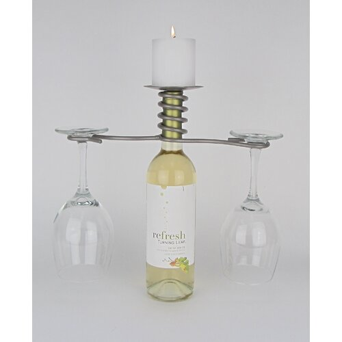 Metrotex Designs Wine Bottle 2 Stem Pillar Candleholder