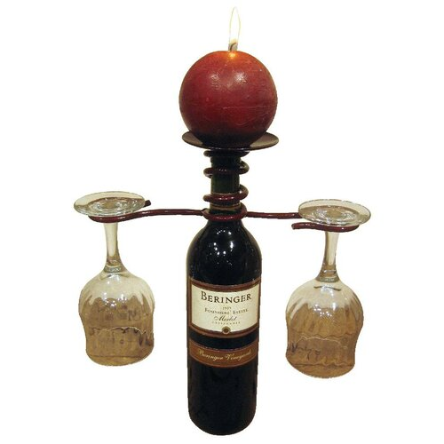 Iron Wine Bottle Topper Candle Holder