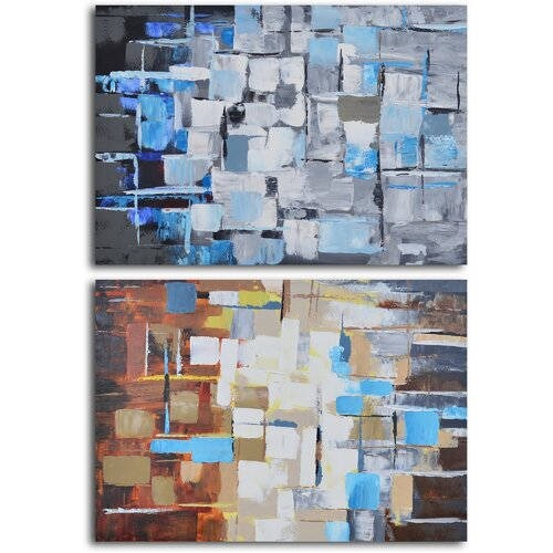'Seasonal Color Through Glass' 2 Piece Original Painting on Canvas Set