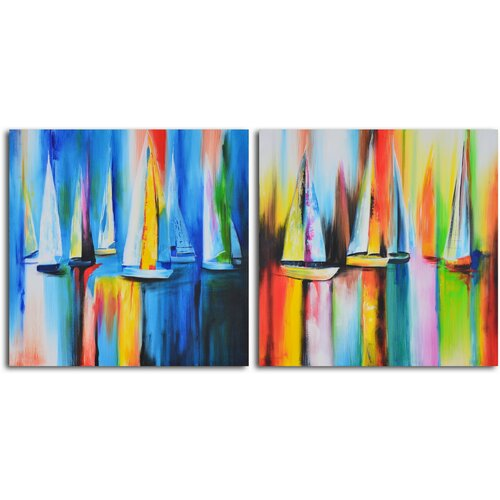 'Time Lapse Sailboat Reflections' 2 Piece Original Painting on Canvas Set