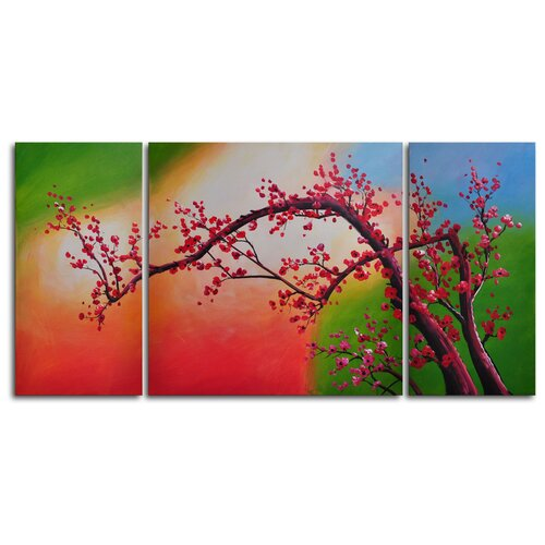 Cherry Blossom, Colored Aurora 3 Piece Painting Print on Canvas Set