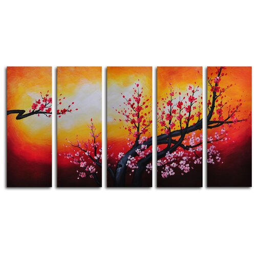Cherry Fronds Frolic 5 Piece Painting Print on Canvas Set