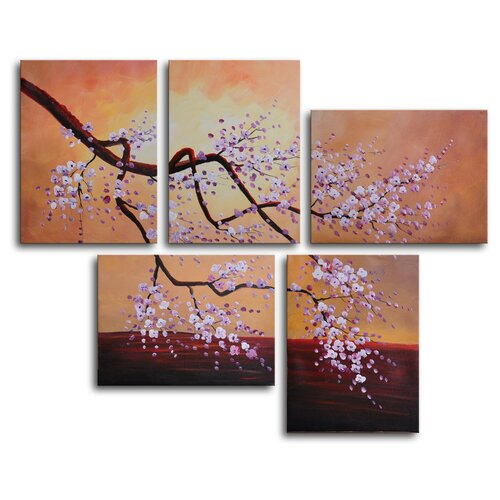Bunches of White Blossom 5 Piece Painting Print on Canvas Set