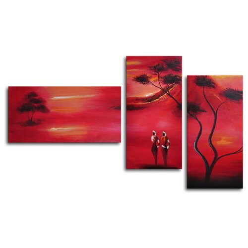 My Art Outlet Protecting Kilimanjaro 3 Piece Original Painting on Canvas Set