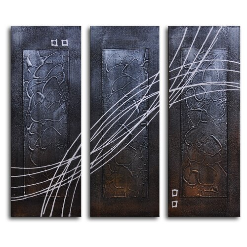 My Art Outlet Strings Across Panels 3 Piece Original Painting on Canvas Set