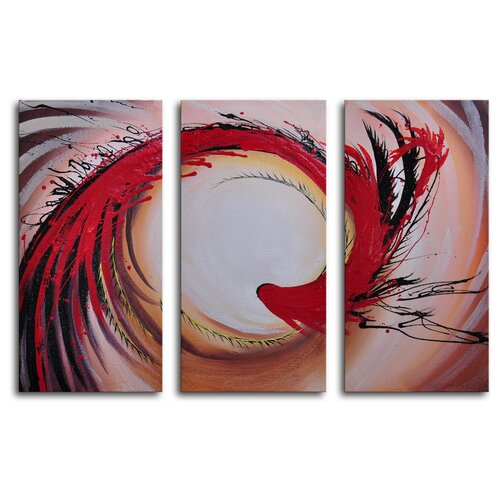 My Art Outlet Stirring Feathers 3 Piece Original Painting on Canvas Set