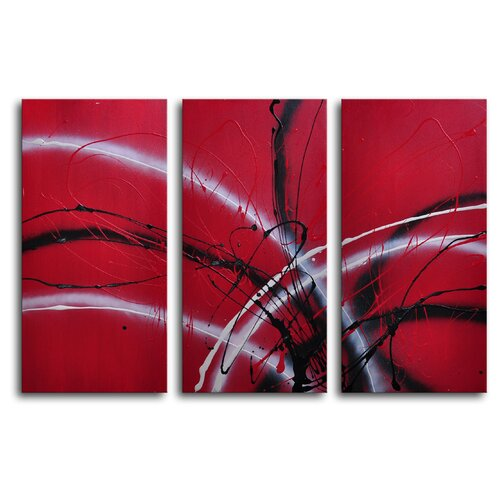 My Art Outlet Guitar Hear Oh 3 Piece Original Painting on Canvas Set