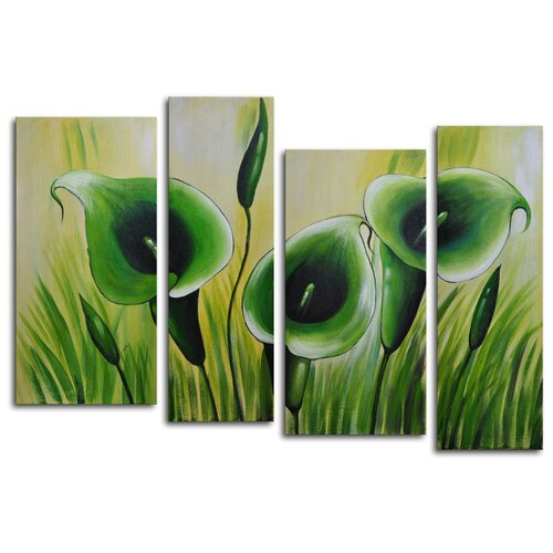 My Art Outlet Green Memory Roots 4 Piece Original Painting on Canvas Set