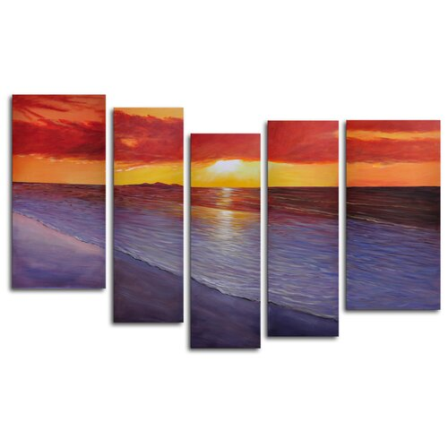 My Art Outlet Twilight Shore 5 Piece Original Painting on Canvas Set