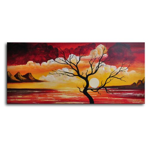 My Art Outlet Tree Silhouette Against Sun Original Painting on Canvas