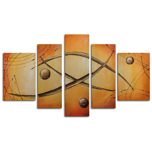 My Art Outlet Orbs Jump Rope 5 Piece Original Painting on Canvas Set