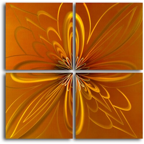 My Art Outlet Spirographic Flower on Tiles 4 Piece Original Painting Plaque Set