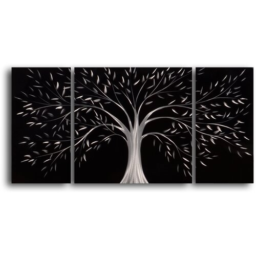 Moonlit Gothic Tree 3 Piece Framed Original Painting Set