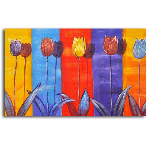 My Art Outlet Tulips on Color Original Painting on Canvas