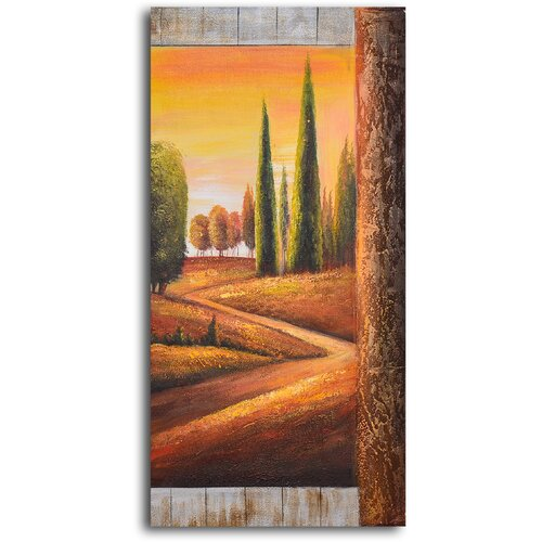 My Art Outlet Sunlit Poplars Original Painting on Canvas