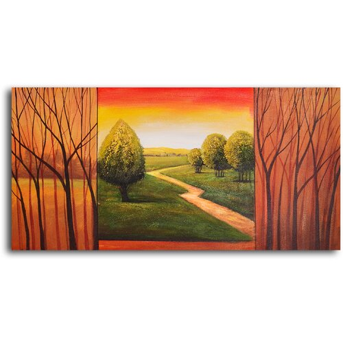 My Art Outlet Verdant View in Sticks Original Painting on Canvas