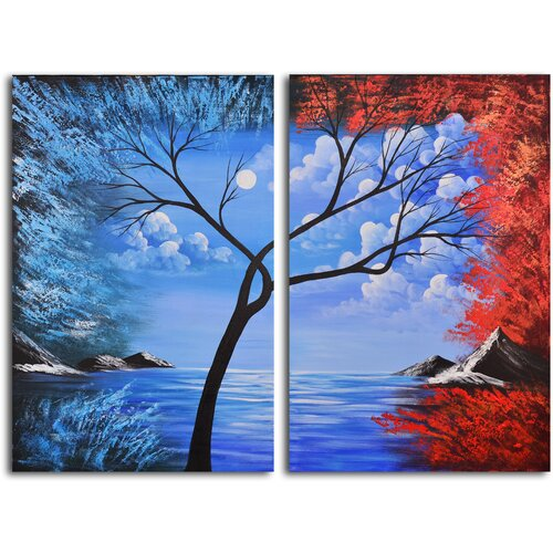 My Art Outlet Blue Lagoon Diptych 2 Piece Original Painting on Canvas Set