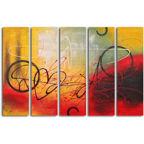 My Art Outlet Graffiti on Copper 5 Piece Original Painting on Canvas Set