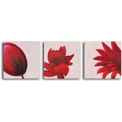 My Art Outlet Maroon Blooms 3 Piece Original Painting on Canvas Set