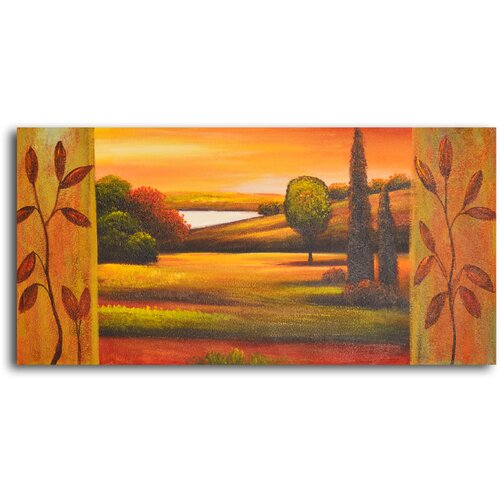 My Art Outlet Pasture to Lake Original Painting on Canvas