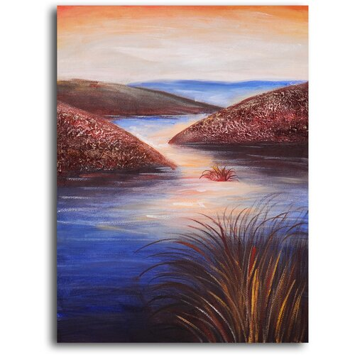 My Art Outlet 'Raindrops on Estuary' Original Painting on Canvas