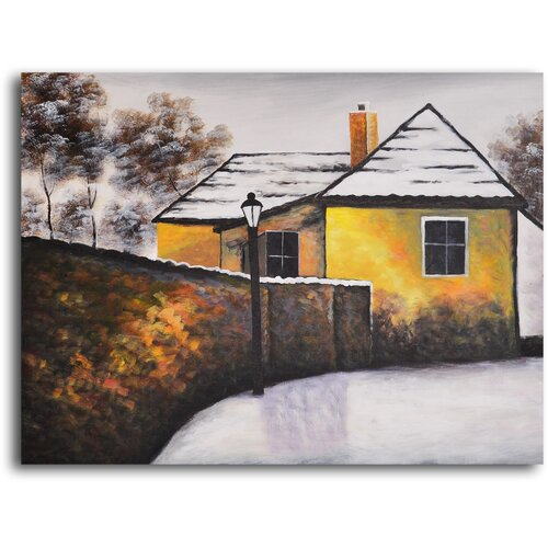My Art Outlet 'House on the Corner' Original Painting on Canvas