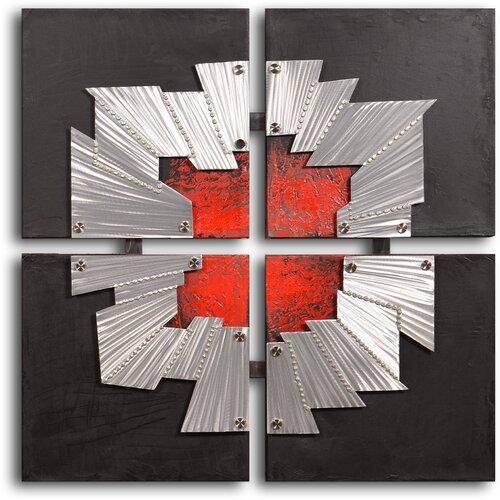 My Art Outlet 'Beaten Tin Window Frame' Original Painting on Canvas