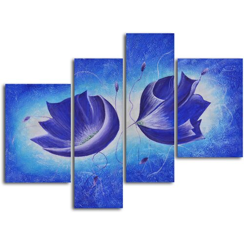 'Violet Floral Fantasy' 4 Piece Original Painting on Canvas Set