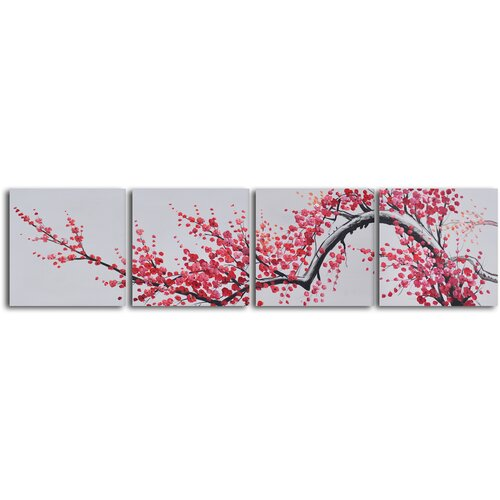 'Extension of Asian Branch' 4 Piece Original Painting on Canvas Set