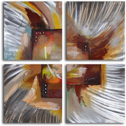 My Art Outlet 'Four Square Steel Splash' 4 Piece Original Painting on Canvas Set