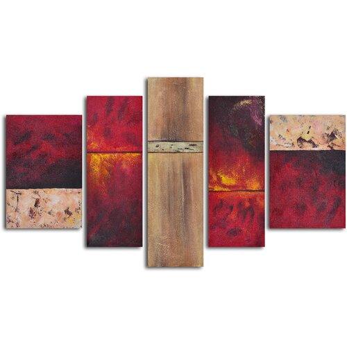 'Francophile Wall Panels' 5 Piece Original Painting on Canvas Set