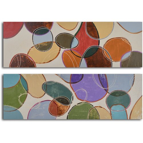 'Colored Cells at Play' 2 Piece Original Painting on Canvas Set