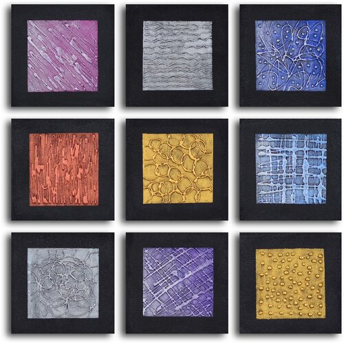 'Tic-Tac-Toe Tin Tiles' 9 Piece Original Painting on Canvas Set