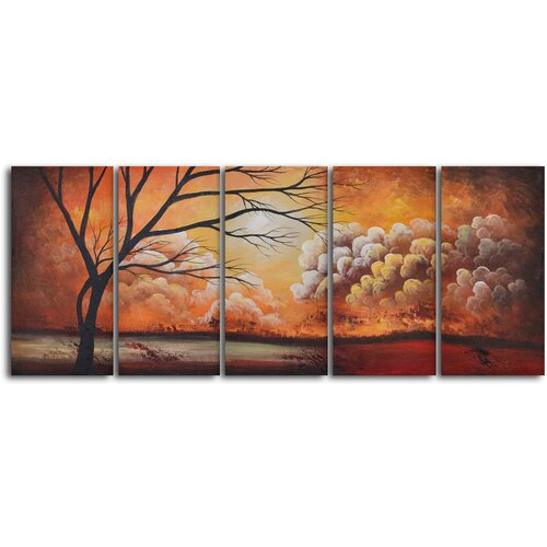 'Tree Silhouette by Thunder' 5 Piece Original Painting on Canvas Set