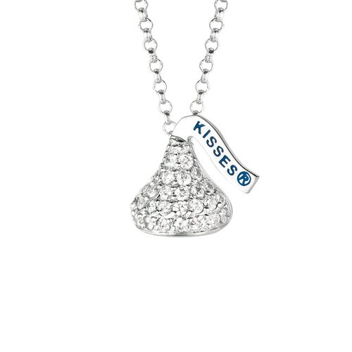 Hershey's Kiss Sterling Silver Cubic Zirconia Pendant Necklace