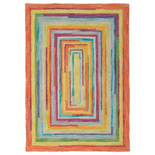 Concentric Multi Color Striped Rug