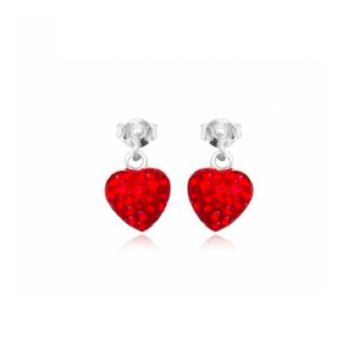 Heart-shaped Studs Earrings with White with Swarovski Elements