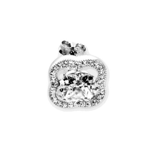 Chandi Court Sterling Silver Stud Earrings with Round-cut Cubic Zirconium
