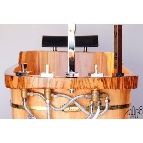 "Alfi Brand 59"" x 27"" Free Standing Oak Wood Bathtub"