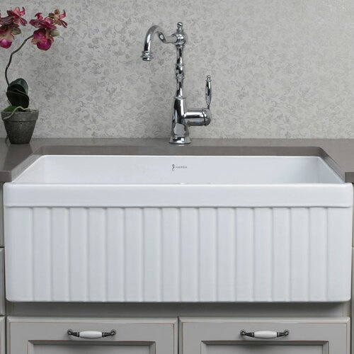 "Alfi Brand 32.75"" x 19.88"" Double Bowl Fluted Farmhouse Kitchen Sink"
