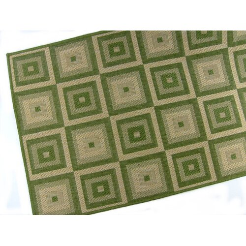 American Mills Pyramid Blocks Emerald Indoor/Outdoor Rug