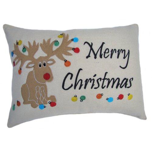 Merry Christmas Moose Applique Pillow