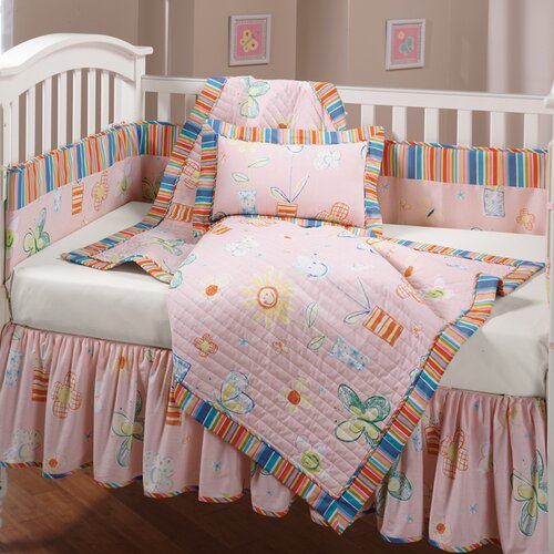 Happy Flowers Quilted 4 Piece Crib Bedding Set