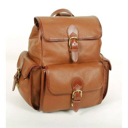 Aston Leather Drawstring Backpack with Front Flap