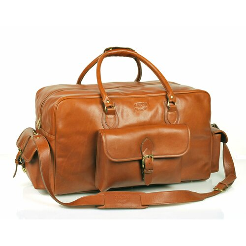 """Aston Leather 21"""" Leather Carry-On Duffel with Top Zipper Closure"""