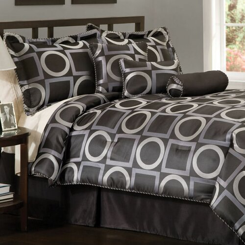 1st Apartment Geo Grid 7 Piece Queen Comforter Set