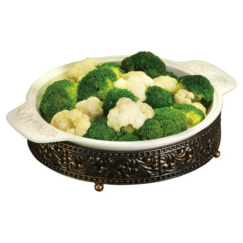 Press Metal Scroll Round Casserole