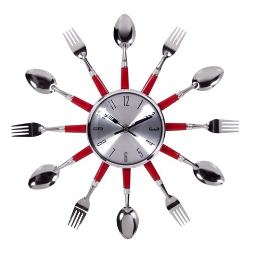 """Home Essentials and Beyond 14"""" Red Utensil Wall Clock"""