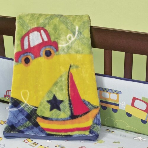 Going Places Sherpa Polyester Crib Blanket